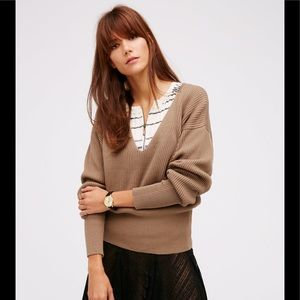Free People Tan Allure Pullover Sweater